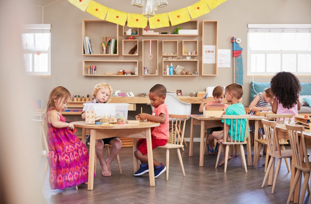 students learning in a montessori classroom