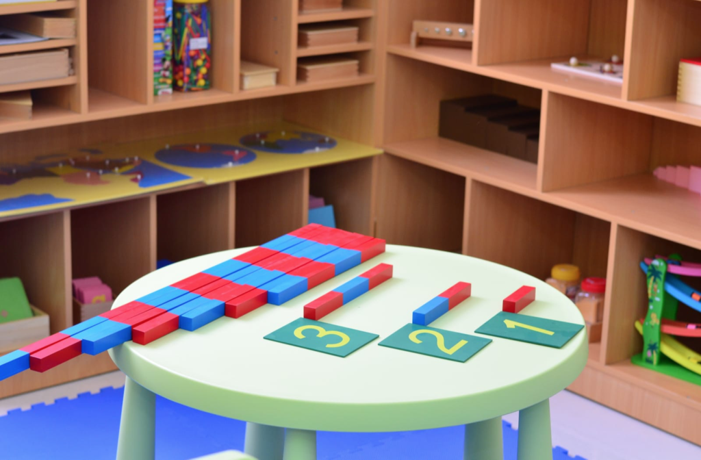 Montessori materials for math learning in a Montessori classroom