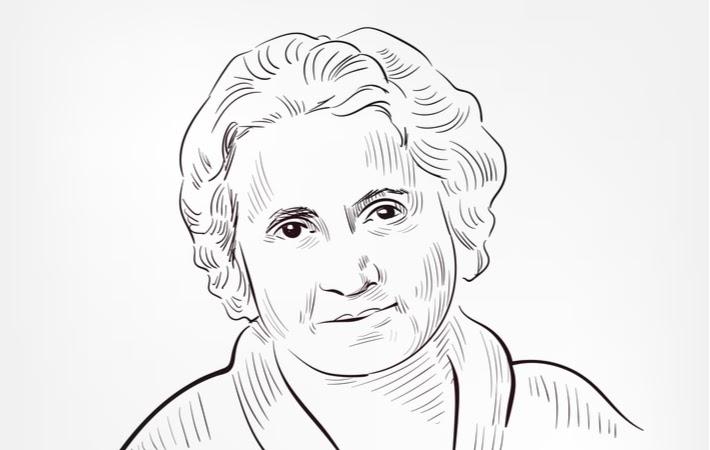 A sketched portrait of Maria Montessori the creator of Montessori Education
